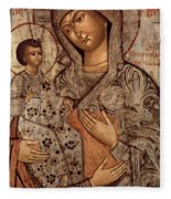 Icon Of The Blessed Virgin With Three Hands Fleece Blanket