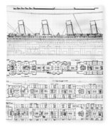 Inquiry Into The Loss Of The Titanic Cross Sections Of The Ship  Fleece Blanket
