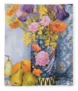 Iris And Pinks In A Japanese Vase With Pears Fleece Blanket