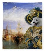 Japanese Spitz Art Canvas Print Fleece Blanket