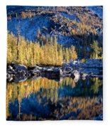 Larch Tree Reflection In Leprechaun Lake Fleece Blanket
