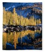 Larch Tree Reflection  Fleece Blanket