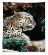 Leopard Watching It's Prey Fleece Blanket