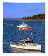 Maine Lobster Boat Fleece Blanket