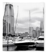 Marina In Black And White Fleece Blanket