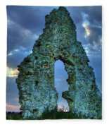 Midley Church Ruins At Dusk Fleece Blanket