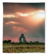 Midley Church Ruins At Sunset Fleece Blanket