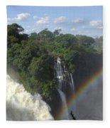 Mist And Rainbow At Victoria Falls Fleece Blanket