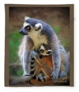 Mother And Baby Monkey Fleece Blanket