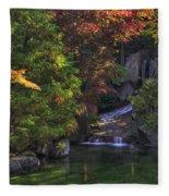 Nishinomiya Japanese Garden - Waterfall Fleece Blanket