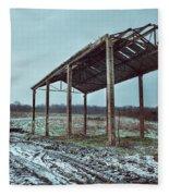 Old Barn In The Snow Fleece Blanket