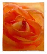 Orange Swirls Rose Flower Fleece Blanket