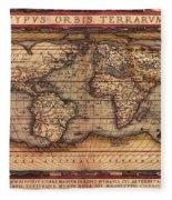 Ortelius World Map -typvs Orbis Terrarvm - 1570 Fleece Blanket