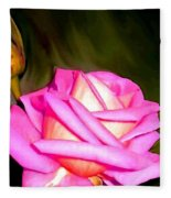 Painted Pink Rose Fleece Blanket
