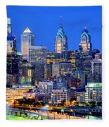 Philadelphia Skyline At Night Evening Panorama Fleece Blanket