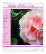Pink Camellia - Happy Mother's Day Fleece Blanket