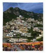Positano Crowded Beach Fleece Blanket