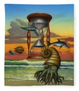 Prehistoric Animals - Beginning Of Time Beach Sunrise - Hourglass - Sea Creatures Square Format Fleece Blanket