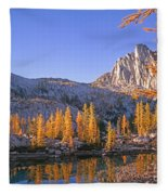 Prusik Peak Behind Larch Trees Fleece Blanket