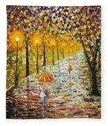 Rainy Autumn Beauty Original Palette Knife Painting Fleece Blanket
