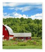 Red Farmstead In Summer Fleece Blanket