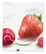 Red Fruits Fleece Blanket