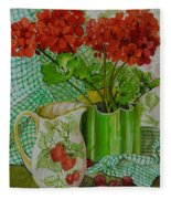 Red Geranium With The Strawberry Jug And Cherries Fleece Blanket