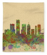 Skyline Of Detroit Usa Fleece Blanket