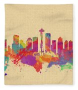 Skyline Of Seattle  Usa Fleece Blanket
