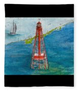 Sombrero Key Lighthouse Fl Chart Art Cathy Peek  Fleece Blanket