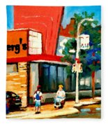 Steinbergs Grocery Store Paintings Vintage Montreal Art Order Prints Originals Commissions Cspandau Fleece Blanket