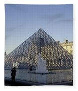 The Glass Pyramid Of The Musee Du Louvre In Paris France Fleece Blanket