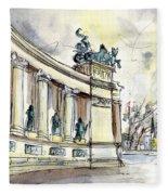The Millennium Monument In Budapest Fleece Blanket