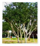 Trees In A Suburban Neighborhood In Summer Fleece Blanket