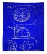 Vintage 1932 Firemans Helmet Patent Fleece Blanket