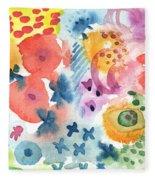 Watercolor Garden Fleece Blanket