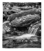 Waterfall Great Smoky Mountains Painted Bw    Fleece Blanket