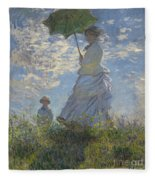 Woman With A Parasol Madame Monet And Her Son Fleece Blanket