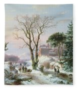 Wooded Winter River Landscape Fleece Blanket