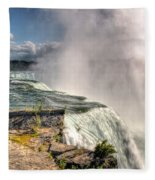 0011 Niagara Falls Misty Blue Series Fleece Blanket