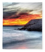 0018 Awe In One Sunset Series At Erie Basin Marina Fleece Blanket