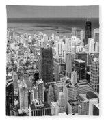 0036 Chicago Skyline Black And White Fleece Blanket
