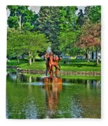 005 Reflecting At Forest Lawn Fleece Blanket