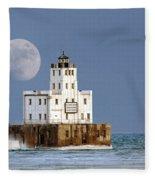 0186 Moon Over Milwaukee Breakwater Lighthouse Fleece Blanket