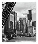 0365 North Branch Chicago River Black And White Fleece Blanket