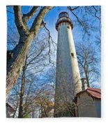 0378 Grosse Point Lighthouse Fleece Blanket