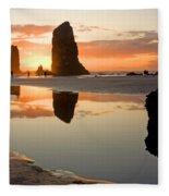 0385 Cannon Beach Reflection Fleece Blanket