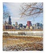 0452 Chicago Skyline Fleece Blanket