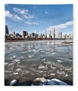 0486 Chicago Skyline Fleece Blanket