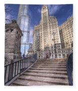 0499 Trump Tower And Wrigley Building Chicago Fleece Blanket